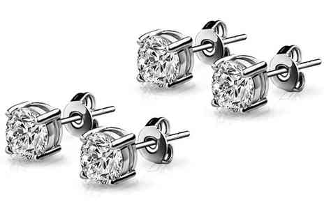 Groupon Goods Global GmbH - One or Two Pairs of 18ct White Gold Plated Round Earrings with Crystals from Swarovski - Save 0%