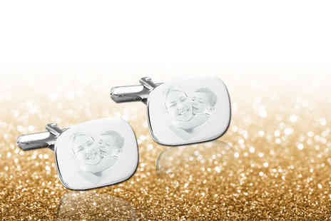 British Gem - Pair of personalised photo engraved cufflinks - Save 71%