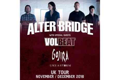 Live Nation - Alter Bridge On 23 November To 2 December, Various Locations, Seated or Standing Tickets - Save 0%