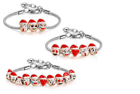 Tee Em - Doohickey Huta Three charm Christmas emoji charm bracelet - Save 84%