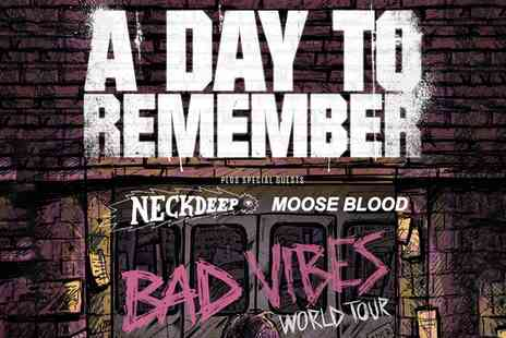 A Day to Remember Live - A Day to Remember Live on 22 To 28 January, Standing and Seated Tickets - Save 0%