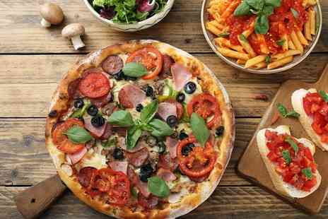 Olives And Pesto - Fifty Fifty Pizza and Pasta with Optional Wine for Two - Save 41%