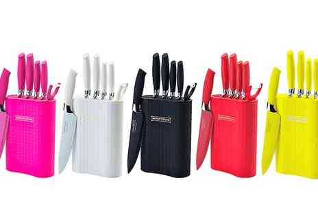 Groupon Goods Global GmbH - Six Piece Royalty Line Switzerland Non Stick Knife Set with Stand - Save 88%