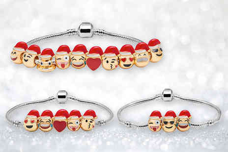 The Gemseller - 18k gold plated Christmas emoji charm bracelet with three charms - Save 88%