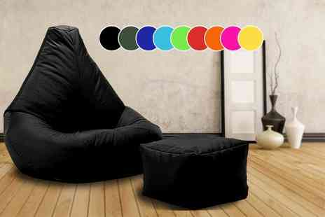 UK Beanbags - Highback beanbag with matching footstool, perfect for indoors and outdoors choose from 10 bright colours - Save 72%