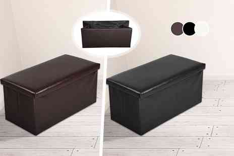 E4Emporium - Large ottoman faux leather folding storage seat choose white, black or brown - Save 72%