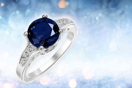 Gemnation - 18k white gold plated blue sapphire ring - Save 93%