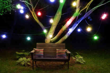 Chimp Electronics - Set of solar powered coloured outdoor bulb string lights - Save 71%