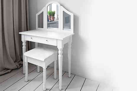 ATR Wholesale - Shabby chic white dressing table with three mirrors and matching stool - Save 56%