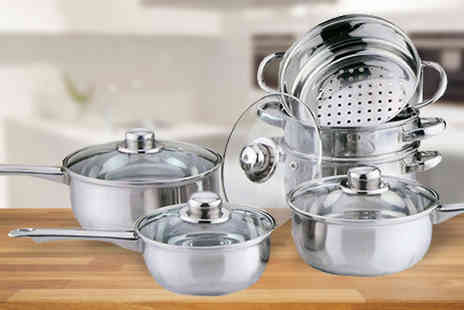 Direct 2 public - Six Piece Stainless Steel Cookware and Steamer Set - Save 0%