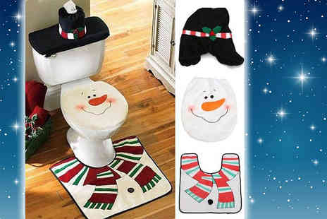 Partikle - Snowman Christmas toilet seat and tank cover and U shaped mat - save 77% - Save 77%