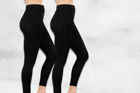 Nothing New 2 Wear - Two pairs of black fleece lined leggings - Save 80%