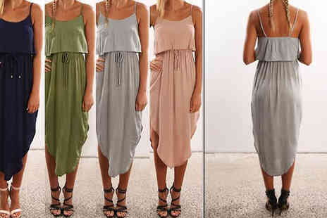 Graboom - Drawstring Waist Midi Camisole Dress in 4 Colours - Save 0%