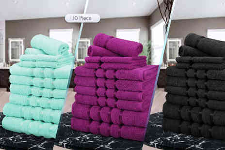 Fusion Homeware - Six or ten piece towel bundle choose from a range of colours - Save 83%