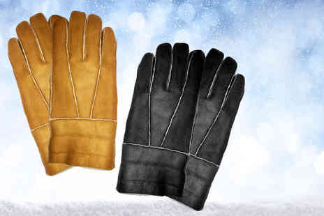 MC California USA - Pair of womens sheepskin look gloves choose from tan or black in three sizes - Save 79%