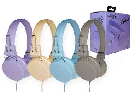 Sork - Pair of Fabriq foldable headphones choose from grey stone, lilac purple, beige or aqua blue - Save 0%