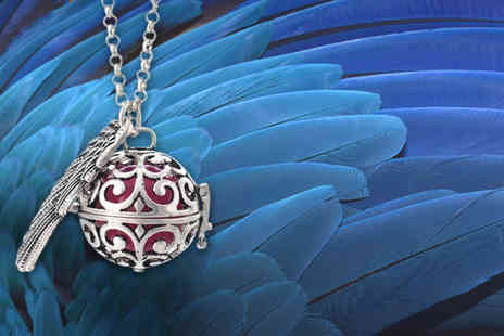 Fakurma - Guardian angel soundball necklace get a black, purple or white ball in a gold or silver plated cage - Save 89%