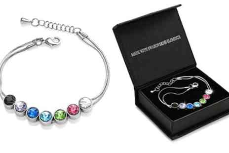 Groupon Goods Global GmbH - 18ct White Gold-Plated Coloured Round Crystals Bracelet with Crystals from Swarovski - Save 79%
