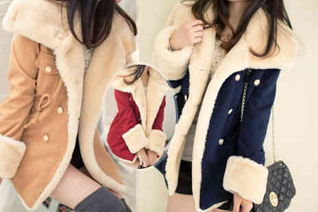 EF Mall - Ladies woollen winter coat with faux fur cuffs choose from tan, red and navy - Save 74%