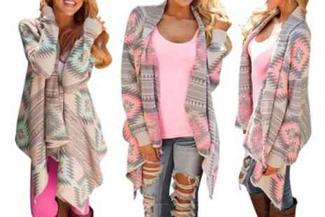 Groupon Goods Global GmbH - Aztec Print Waterfall Cardigan - Save 0%