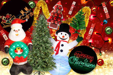Partikle - A Mystery Christmas Decorations Deal Get a six foot LED tree, inflatable snowman, LED lights, baubles, crackers and more - Save 0%