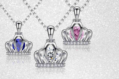 Your Ideal Gift - 1.5 carat royal crown lab created sapphire pendant choose from blue, clear or pink - Save 90%