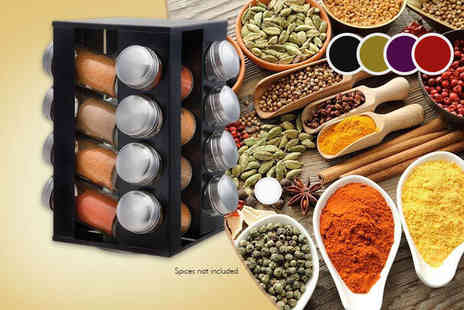Zenith Wholesale - Stainless steel revolving spice rack choose from black, red, gold or purple - Save 75%