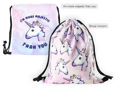 Tee Em - Unicorn emoji drawstring bag choose from two designs - Save 81%