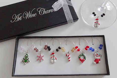 Orchid Deal - 6 or 12 Christmas Themed Wine Glass Charms - Save 0%