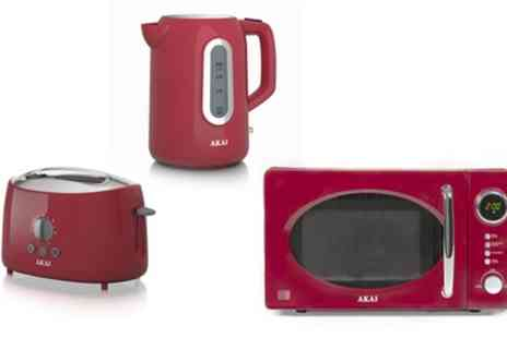 Groupon Goods Global GmbH - Akai Kettle, Toaster and Microwave Bundle in Choice of Colour With Free Delivery - Save 50%