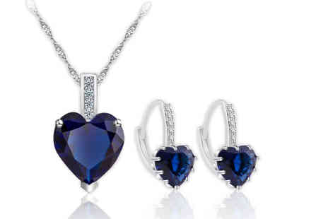 Your Ideal Gift - 10K white gold plated sapphire pendant and earring set choose from pink, clear and blue - Save 95%
