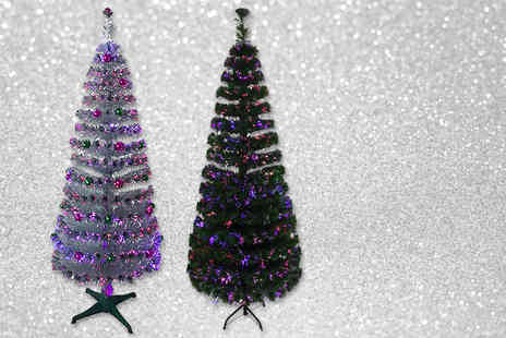 TLD Marketing - Six foot fibre optic Christmas tree choose from silver and green - Save 67%