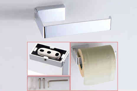 Comxuk - Wall Mounted Chrome Finish Toilet Roll Holder - Save 75%