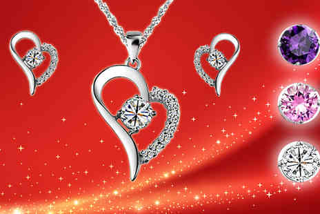 Your Ideal Gift - Swarovski Elements Heart Necklace and Earrings Set Three Colours - Save 94%