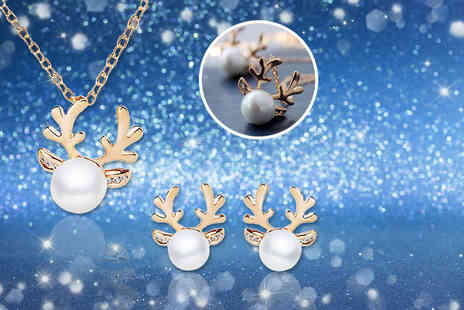 LOVETTIUK - Antler necklace and matching antler earrings choose silver or gold - Save 64%