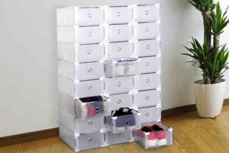 Groupon Goods Global GmbH - 8 or 16 Transparent Folding or Stacking Shoe Boxes in Two Sizes - Save 69%
