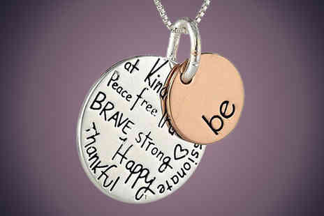 Snap One Up - 2 Disc Pendant Necklace With Sentimental Engraving - Save 60%