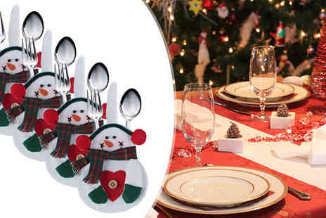 Apricot Leaf - 4 Snowman Cutlery Holders - Save 60%
