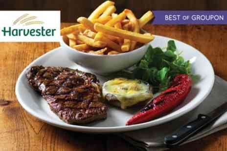 Harvester - Steak, Slow Cooked Ribs or Chicken Meal with Wine and Unlimited Salad - Save 45%