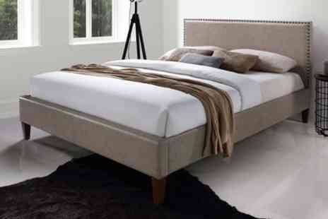 Groupon Goods Global GmbH - Double or King Size Eton Antique Studded Leather Look Bed Frame With Free Delivery - Save 68%