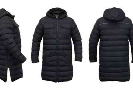 Groupon Goods Global GmbH - Mens Brave Soul Long Line Hooded Puffa Jacket in Choice of Size With Free Delivery - Save 0%