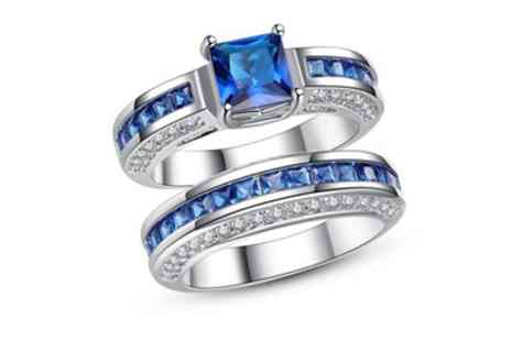 Groupon Goods Global GmbH - 2.5Ct Blue Sapphire Princess Cut 10Ct White Gold Ring - Save 93%