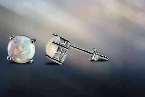 Evoked Design - Pair of opal stud earrings - Save 86%