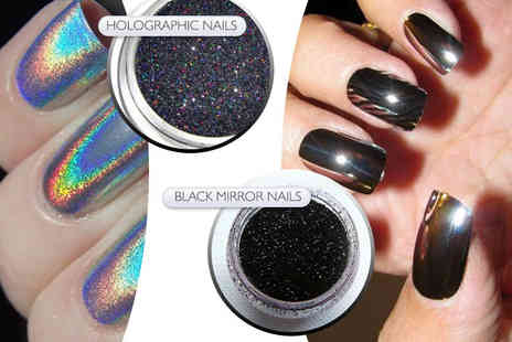Boni Caro - Black or silver holographic mirror nail powder - Save 80%