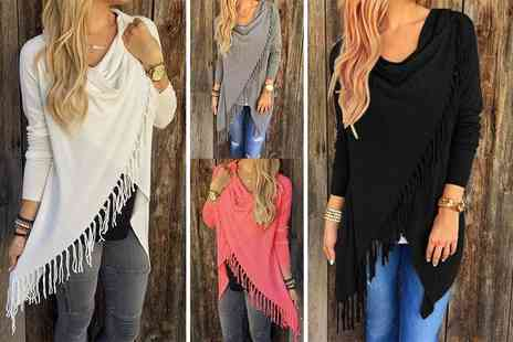 Boni Caro - Boho chic tassel jumper choose from black, grey, white or pink - Save 76%