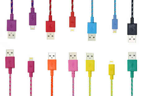 EF Mall - One metre braided USB charging cable for iPhone 5, 5s, 6, 6s and 6 plus choose from 10 colours - Save 77%