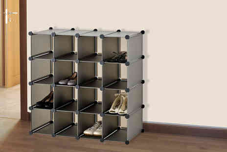 Zoozio - 16 cube interlocking shoe rack - Save 56%