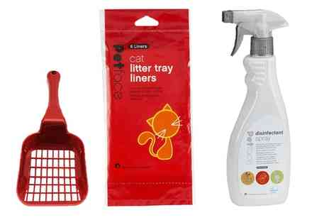 Groupon Goods Global GmbH - Petface Cat Litter Scoop, Disinfectant Spray and Six Pack Tray Liners set - Save 0%