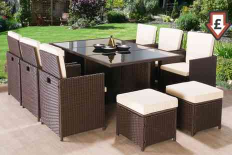 Groupon Goods Global GmbH - Four, Nine or 11 Piece Rattan Garden Furniture Set With Free Delivery - Save 84%