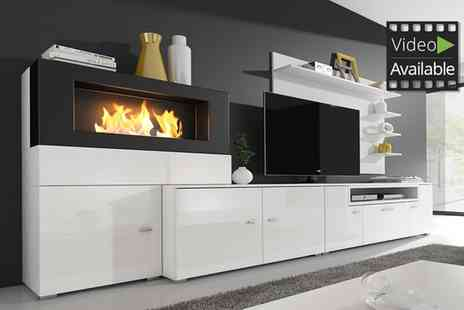 Groupon Goods Global GmbH - TV Entertainment Centre with Built In Biofuel Fireplace in Choice of Colour With Free Delivery - Save 4%